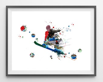 Snowboard rider watercolor print Snowboarder jumping in powder print snowboard poster freeride snowboarding wall decor sport art print [296]