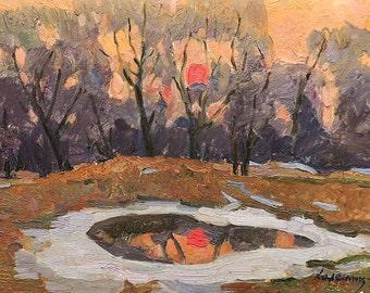 """VINTAGE IMPRESSIONIST ART Original Oil Painting """"Sunset"""" by Soviet Ukrainian artist V.Kolesnik 1971, Evening,  Forest Landscape,  Waterscape"""