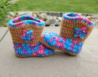 Baby Cowgirl Boots; Crocheted Pink and Brown Shoes; Adorable Baby Shower Gift; Western Boots; Handmade by Anna
