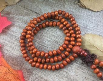 10X(108 6MM) Orange Wooden Beads Plants Meditation Buddha Japa Mala Necklace Yoga Bracelet