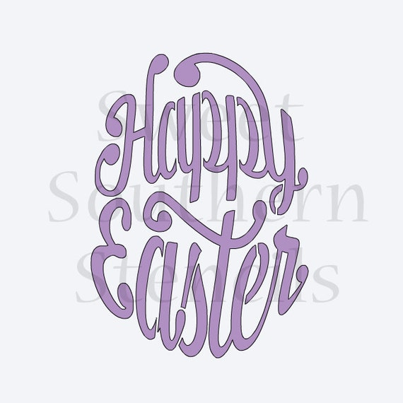 Items similar to Happy Easter Egg Shape Cookie Stencil ...