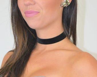 Black Velvet Choker Necklace Noir Velour Boho Hippie Festival Jewelry
