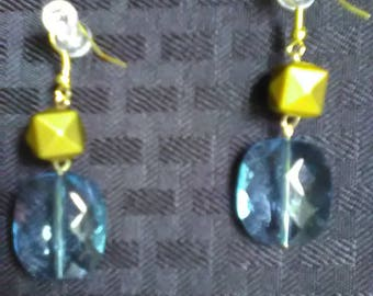 Blue and Yellow Geometric Dangle Earrings