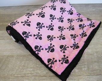 Rocker Baby Stroller Blanket, Skull Baby Blanket, Baby Girl Skull Crib Bedding, Minky Baby Blanket, Hot Pink Pirate Bedding,