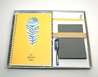 Watercolor Feather: Boxed Stationery Letter Writing Gift Set with Notebook, Writing Sheets, Envelopes, and Pen
