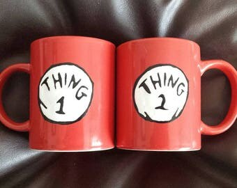2 Hand painted mugs inspired by Dr Seuss