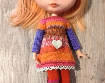 Blythe dress Orange and purple