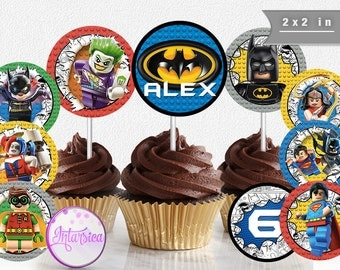 Batman Vs. Superman Lego, Joker, Robin Personalized Cupcake Toppers Printable Party Digital File