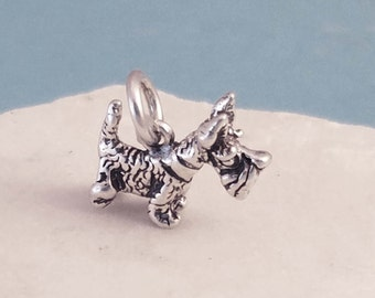 Sterling Silver Scottish Terrier Dog Necklace, Silver Dog Necklace, Sterling Silver Scottish Terrier Charm, Silver Pet Necklace
