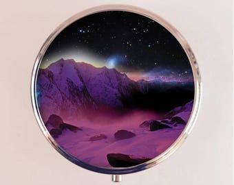 Trippy Outer Space Pill Box Pillbox Case Holder Stash Box Psychedelic Surreal Universe Outerspace Landscape