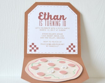 Pizza Party Invitation: birthday party, class party, kids party, food party, celebration dinner, sports party, pizza box cards- LRD042P
