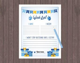 Hanukkah Wish List - Printable, Present Ideas Sheet, Hanukkah Downloadable, Children's Hanukkah List,