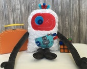 Hug Monster with ribbons, handmade plush, red and dark grey with robots print pocket,  baby shower or birthday gift for boy, ready to go
