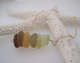 Sea Glass Necklace  -Amber Ombre Colors - Recycled - Ombre - Shaded Sea Glass - Gold- Summer Style - Frosted - Natural