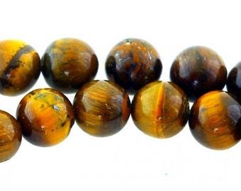 35 beads wire round 10mm 10 mm Brown Tiger eye
