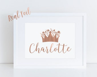 Custom baby print, name print, princess print, crown, nursery print, nursery decor, wall print, foil prints, baby gift, personalized print