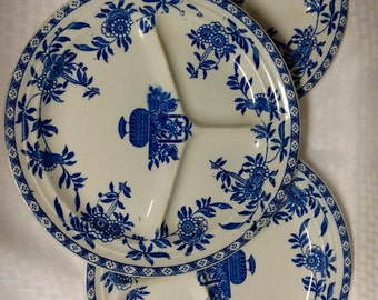 Set of 3 Wood & Sons Ltd Divided or Sectioned Dinner Plates