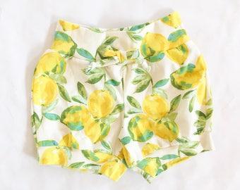 Lemon knit shorts, yellow shorts, lemon shorts, knit shorts // Bizzy Bean Clothing//