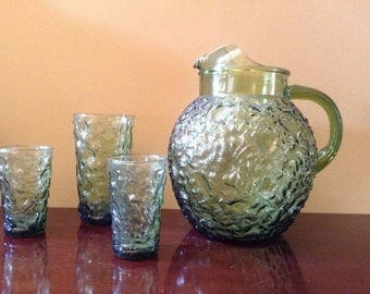 Green Pitcher - Vintage Milano Glass Pitcher and Glasses