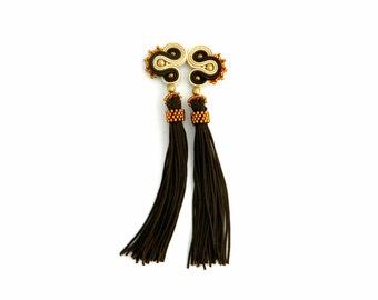 ear plug brown earrings, chocolate brown boho jewelry, long earrings soutache tassel earrings, gift for her, bohemian jewelry
