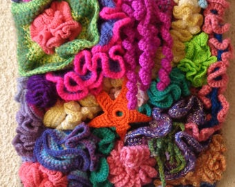Hyperbolic crochet coral reef - wall hanging-multicolored