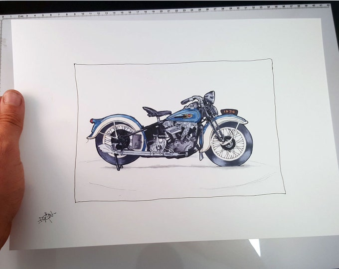Harley Davidson 1936 Knucklehead - Fine Art Print | Motorcycle Art | Motorcycle Illustration