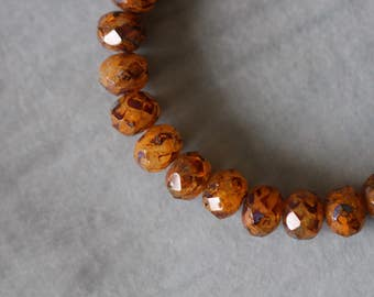 9x6mm (10) Rust, Topaz, Picasso, Czech Glass, Faceted, Rondelle, Beads, 10 pieces