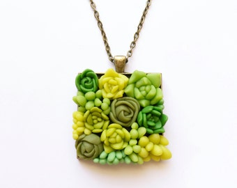 Square succulent necklace