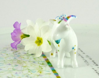 Porcelain Platter,Porcelain Dish, Ceramic Storage Tray,Multicolored Tray,Porcelain Goat Figurine Platter,