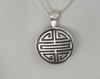 Sterling Silver Chinese Longevity Necklace Shou Pendant Made in Montana Gift for Men Gift for Women Healing Necklace Inspirational Jewelry