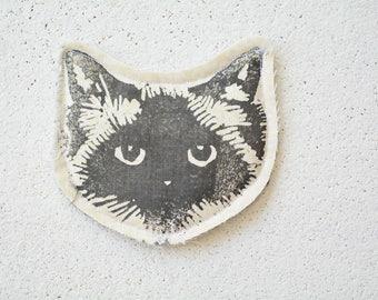 Cat Face Pin Brooch. Birman Ragdoll. Pastel Yellow Fabric. Upcycled textiles.