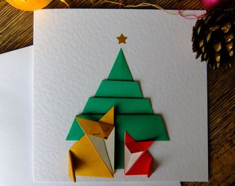 Two Foxes Origami Christmas Card