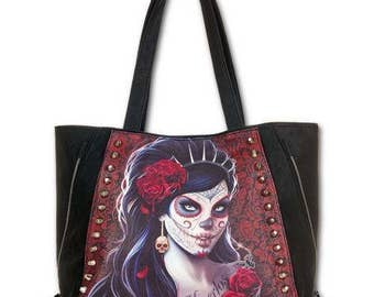 Tote ShoppIng Hand BAG Day Of The Dead  Gothic Alternative  STUDDED