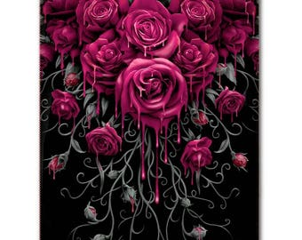 Gothic FLEECE BLANKET Throw Blood Rose