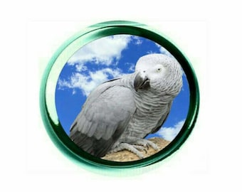 African Grey Parrot 65mm Glass Paperweight with Blue Gift Box