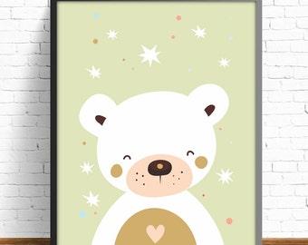 bear print, kids room decor, wall art print, baby print, baby room, nursery decor, nursery print, animal print, bear, illustration, wall art