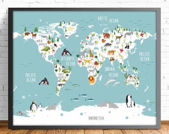 nusery world map,ENGLISH, animal world map,4 SIZES INCLUDED,mapamundi print,kids room decor,baby room print,boy room print,girl room print