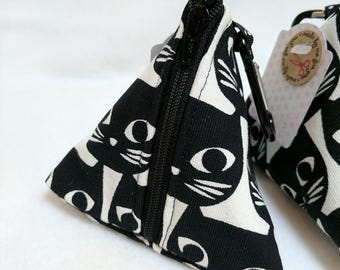 Handmade Black Cat Pouch Bag / Purse / Dog Poop Bag or treat carrier with metal Carabiner clip to attach to a book bag or Handbag