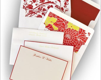 Red Hand Bordered Correspondence Card  - Personalized Thermography - 5920
