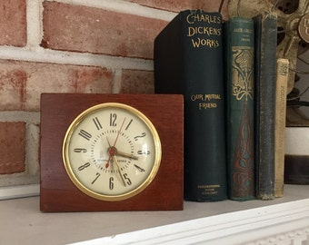 Vintage Wooden Alarm Clock - General Electric Clock - Plug In Clock - Retro Clock - Bedside Clock