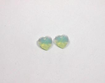 2 Chrysolite Opal Swarovski Heart Pendant, 14mm, Swarovski, Crystal, Heart Pendant, Hearts, Front Drilled, Pendants