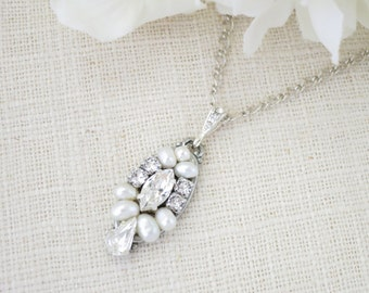Art Deco pendant necklace, Rhinestone and pearl bridal necklace, Swarovski crystal and freshwater pearl wedding necklace