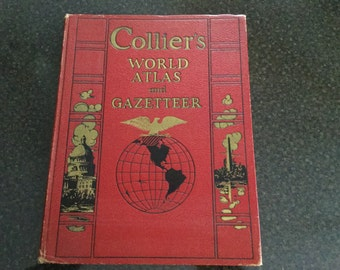 COLLIER'S World Atlas and Gazetteer   Full Page Color Maps