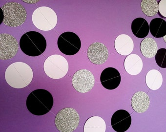 BLACK TIE AFFAIR Paper Circle Garland - Party, Wedding, Shower, Room Decoration.