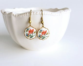 Tulip Flower Earrings, Red Flower Dangle Earrings, Vintage Cameo Earrings, Gift For Her