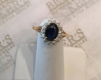 Vintage 14k yellow & white gold Oval Blue Sapphire and 14 Diamond Halo Ring .99 tw size 8, Princess Diana Style