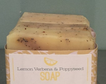 Lemon Verbena & Poppyseed All Natural Soap with gentle exfoliating poppyseeds and fresh lemon zest