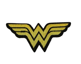 Wonder Woman Classic W Logo 4 Inch Wide Yellow Embroidered Iron On Patch DC