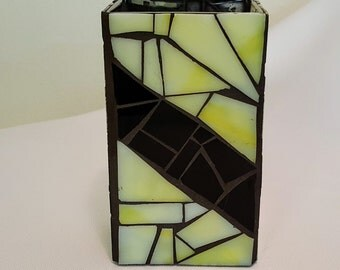 Vase - Mosaic Black and Yellow Rectangle