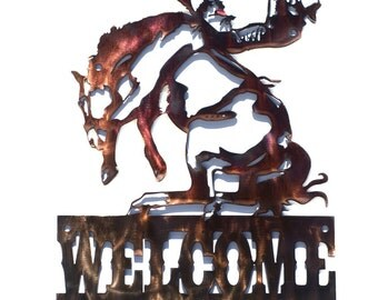 Bronc Rider Welcome Sign